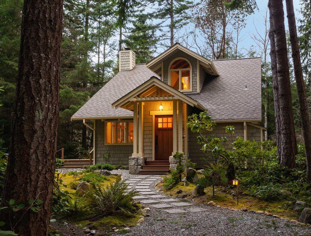 Картинка красивого домика в лесу